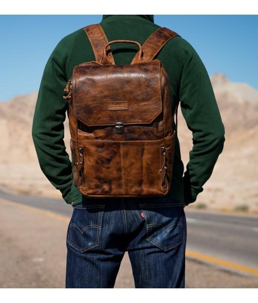 Alzarro Old School Vintage Leather Backpack