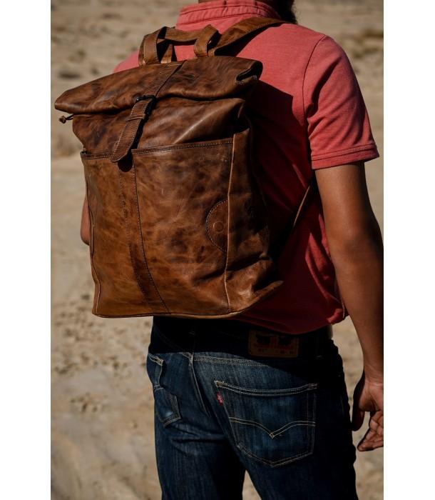 Alzarro Vintage Leather Rolltop Backpack