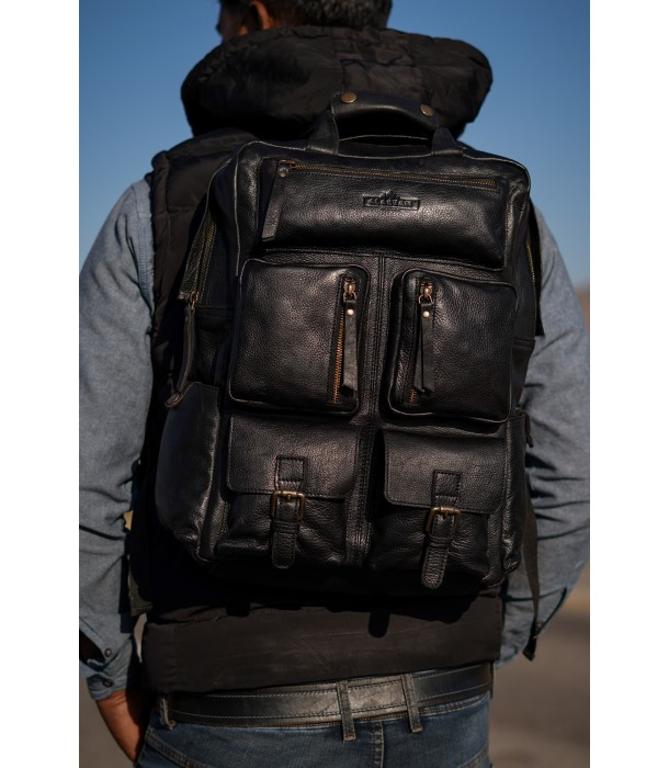Anderson Black Leather Laptop Backpack