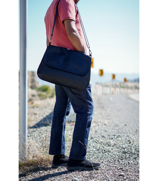 Classic Black Leather Satchel Messenger Bag