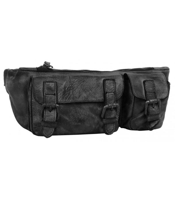 Noorvik Black Leather Fanny Pack